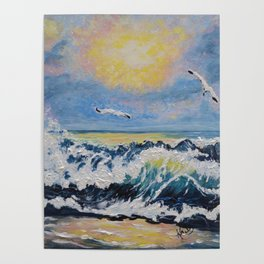Impressionism Ocean Waves With Seagulls, Beach House Art and home decor Poster