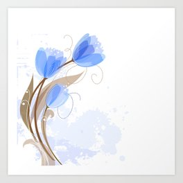 Abstract Blue Watercolor Tulips Art Print