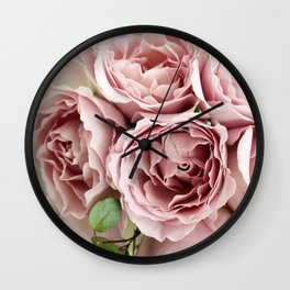 Marvelous Beautiful Corsage Pink Roses Blossoms Close Up Ultra HD Wall Clock