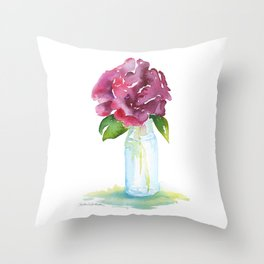 Rose in a Glass Vase Watercolor Throw Pillow