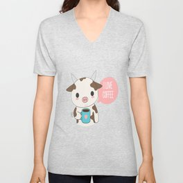 Cute Cow Drinking Coffee Unisex V-Neck