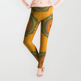 Growing -Taxus - plant cell embroidery Leggings