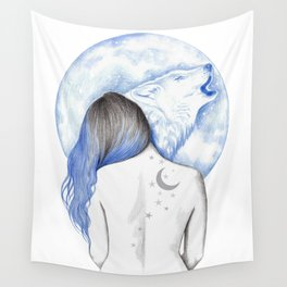 Wolf Moon Wall Tapestry
