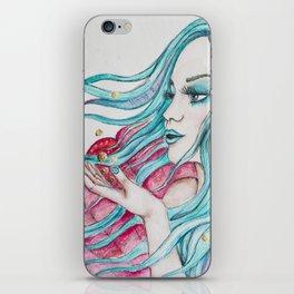Watercolor mermaid fantasy art iPhone Skin