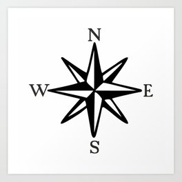 Compass Rose NOSW (Monochrome) Art Print