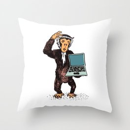 Not-Tech-Savvy Monkey With Laptop Cute Animal Silly Monkey Throw Pillow