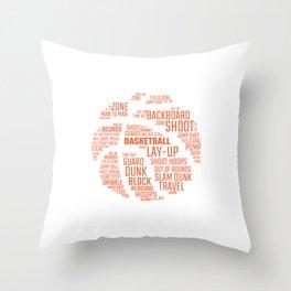 Basketball Word Ball Streetball Gift For Basketball Players Throw Pillow
