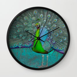 Green and blue Peacocks Wall Clock