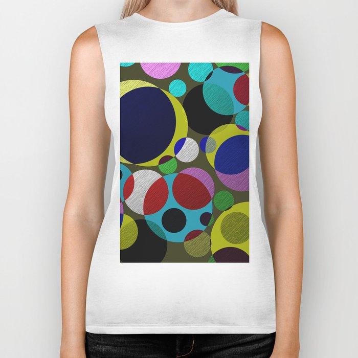 Bubbles - Fun, geometric, colourful design Biker Tank