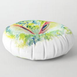 Lime Teal Watercolor Owl Floor Pillow