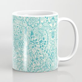 Detailed Floral Pattern in Teal and Cream Coffee Mug