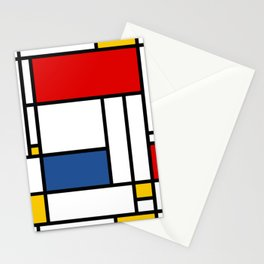 Mondrian color pattern Geometric Red Yellow Blue Stationery Cards