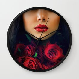 Beautiful Fashion Girl with Roses Wall Clock