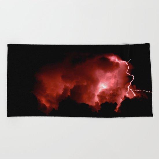 Lightning Strikes Beach Towel