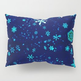 Blue Snowflakes Pattern Pillow Sham