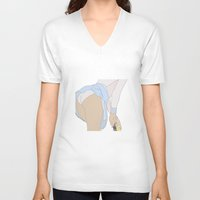 tennis V-neck T-shirts featuring TENNIS by Marine Marbleindex