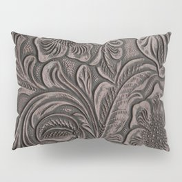 Distressed Smoky Tooled Leather Pillow Sham