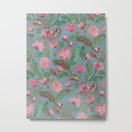 Soft Smudgy Pink and Green Floral Pattern Metal Print