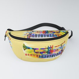 Abstract colorful music instrument painting.Trumpet, piano, musical notes, color splash, treble clef Fanny Pack