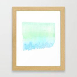 Hand painted turquoise teal blue watercolor ombre brushstrokes Framed Art Print