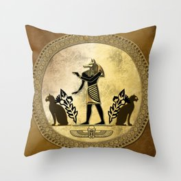 Anubis the egyptian god Throw Pillow