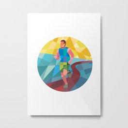 Marathon Runner Running Circle Low Polygon Metal Print