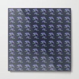 Nautical Dolphins Pattern Metal Print
