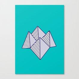 Paku Paku, navy lines on turquoise Canvas Print