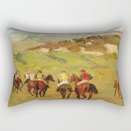 Edgar Degas - Jockeys On Horseback Before Distant Hills Rectangular Pillow