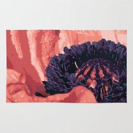 Peach Poppy Illustrated Art Rug