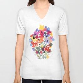 Bright Wildflower Field Unisex V-Neck