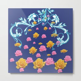 YELLOW  & PINK ROSES BLUE MODERN  ABSTRACT Metal Print
