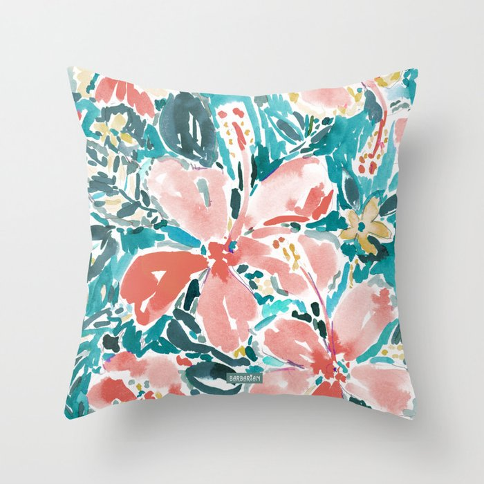 HELLO HIBISCUS - CORAL Throw Pillow