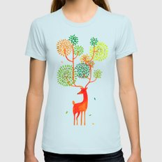 For the tree is the forest SMALL Womens Fitted Tee Light Blue
