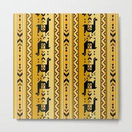 Llamas_Mustard Metal Print