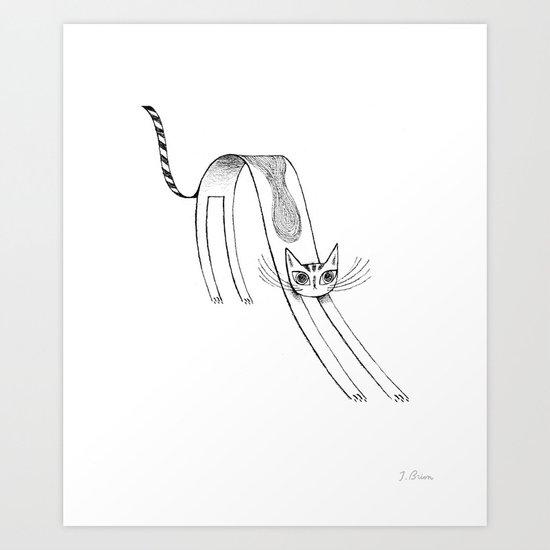 Flat Cat Art Print