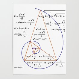 Golden Triangle / Logarithmic Spiral Poster