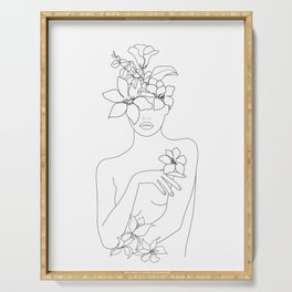 Minimal Line Art Woman with Flowers IV Serving Tray