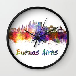 Buenos Aires V2 skyline in watercolor Wall Clock