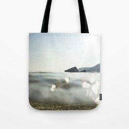 Clear Blue sea at Porthcurno, Cornwall Tote Bag