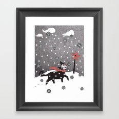 Snow Cat Framed Art Print