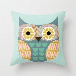 Geometric owl on aqua background Throw Pillow