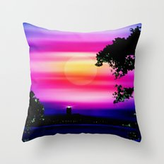 Evening sun on the coast. Throw Pillow