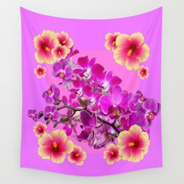 Tropical Pink,Lilac  Orchids Hibiscus Flowers Collage Art Wall Tapestry
