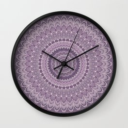 Purple feather mandala Wall Clock