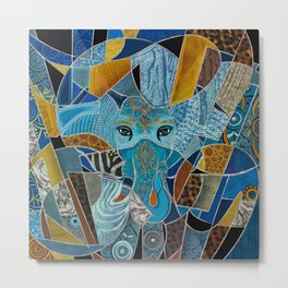 Colorful Abstract Elephant composition Metal Print