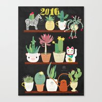 calender Canvas Prints featuring Cacti Calender 2016 by Elisandra