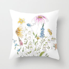 wild flowers and blue bird _ink and watercolor 1 Throw Pillow