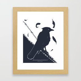 Raven on a Wire Framed Art Print