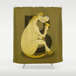 Pony Monogram Letter B Shower Curtain